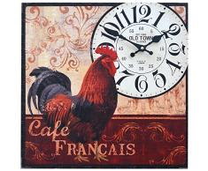 Reloj de pared decorativo | tema Cafe Francais cocineros | estilo shabby chic | multicolor | forma cuadrada | 40x40cm