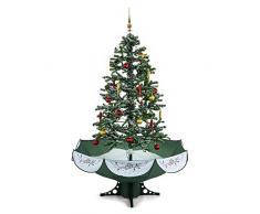 oneConcept Everwhite árbol de Navidad con mecanismo de nevada (caída de nieve regulable, 180 cm altura, iluminación LED, música configurable, 30 adornos, pino navideño) - verde