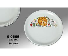 Supernova Decoracion-Set 4 platos para pizza decorados con dibujos y letras . Medidas 20 Cm