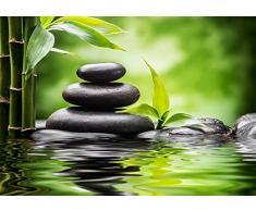 Fotomural Vinilo Pared Zen Piedras Bambú 200x150cm | Fotomural para paredes | Vinilo Decorativo | Varias Medidas | Decoración comedores, salones, habitaciones...
