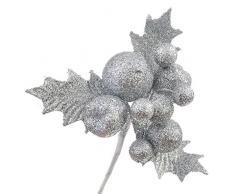 Decoraciones de Navidad, cebbay Navidad Figurita de frutas para árbol de Navidad Home Deco, Plateado, Small