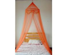 Naranja doble cama con dosel con bolas decorativas
