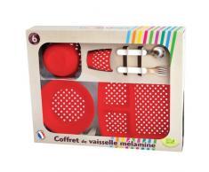 Plastorex - Caja rectangular con platos y cubiertos (melamina), diseño de lunares, color rojo