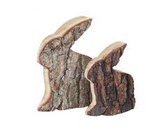 Conejo de Pascua, corteza de madera de roble, producto natural, 18 cm