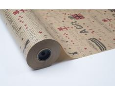 BOBINA PAPEL DE REGALO 70CM X 100M KRAFT HAVANA BIRTHDAY