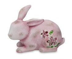 7 '(L) rosa conejo con mosaico de cristal figura decorativa de Pascua