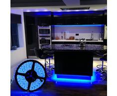 DUMVOIN Multicolor Tira de Luz LED Impermeable LED Strip RGB 5M(16.4 ft) 5050 SMD 300 LEDs + Adaptador de Alimentación de 12V 5A + 44 Teclas IR Remote Control Decoración para Jardín, Navidad, Boda, Fiesta