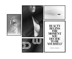 murando Poster Conjunto de 5 Carteles Colección de Posters Cuadro Impresos Póster con Motivos Artísticos Galería de Pared Serie de Carteles Mujer Dance Beauty Coco Chanel Abstracto Paisaje Citas