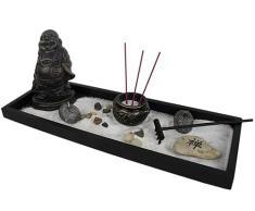 Yudu YH-26 - Jardín Zen (incluye figura de Buda, varas de incienso con soporte, velas, piedras, arena y rastrillo)