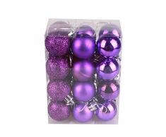 Bola de adorno,Longra 24 piezas Xmas bolas brillas elegantes de adorno de decoracion de arbol chucherias de Navidad (púrpura)
