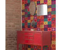 Walplus Adhesivos de pared extraíble Autoadhesivo Arte Mural VINILO DECORACIÓN HOGAR BRICOLAJE Living Cocina Dormitorio Decor papel pintado Regalo Colorido mandala Azulejos - 20 cm x 20cm - 12pcs
