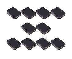 SUPVOX Latas de metal con bisagras vacías rectangulares de 10 piezas mini caja de almacenamiento de hojalata negra portátil 9.5 * 6 * 2.1 cm para dulces píldoras aretes joyería artesanal