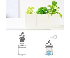 Juego de 3 posmoderna cuadrado Modular Selfwatering blanco macetero botes para especias con bandeja para supermercado para hierbas y todas las plantas de sobremesa - diseño de jardín, hogar y oficina decoración