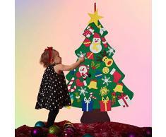 Tenflyer Árbol de Navidad, Árbol de Navidad de Fieltro DIY con 30 Piezas de Adornos para Colgar en la Pared Decoraciones Regalos para niños,Árbol de Navidad de Fieltro DIY