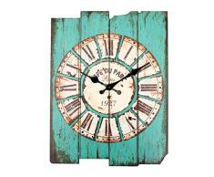 Bluelover Zakka Vintage madera rústico de la pared reloj cutre hogar sala Cafe Bar pared decoración azul