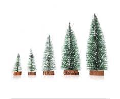 Mini abeto de Navidad árbol de pino madera base Artificial decoración del árbol de navidad regalo de Navidad (Green)