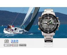 Shark SH047 - Reloj Hombre de Cuarzo, Correa de Acero Inoxidable Plateado, Multifunción