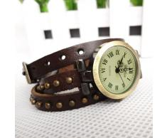 SODIAL(R) Reloj de Pulsera Cuero Tejido con Remache para Senoras - Cafe