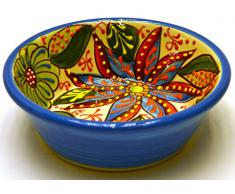 LEBRILLO Nº4 bol / plato hondo en ceramica hecho y pintado a mano con decoración flor. 15 cm x 15 cm x 5 cm (AZUL CELESTE)