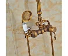 """Gowe Classic envejecido redonda de latón cabezal de ducha de lluvia grifo caliente fría válvula mezcladora ducha de mano pulverizador montado en la pared de ducha de 8 """""""