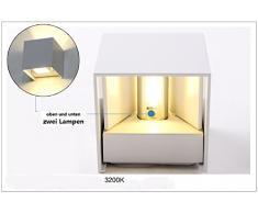 Topmo 7W Lámpara de pared de LED con ángulo de visión Ajustable IP65 resistente al agua iluminación de la pared 2700K Square caliente apliques blanco LED al aire libre (blanco)