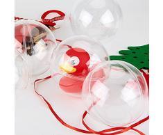 Amzdeal Bolas de Navidad Forma redonda Plástico transparente para decorar el arbol de navidad lleno de dulces, chocolates y regalos Diámetro de 8 cm Un pack de doce bolas