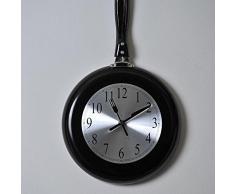 Kitchen reloj de pared 43 x 26 cm negro sartén y gris