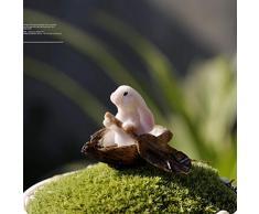 Yardwe Figura de Conejo en Miniatura Figura de Conejito Jardín de Hadas Decoración de Resina para Macetas Bonsai Micro Paisaje Decoración Suministros Pascua Favor (Canotaje de Conejo)
