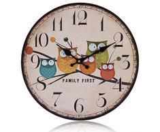 Gosear® Reloj de Tiempo de Montado en Pared MDF-Estilo Europeo País,Buho