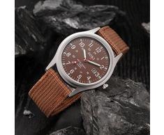 Malloom® Militar Hombres del Ejército Fecha lienzo Banda deporte del acero inoxidable cuarzo reloj de pulsera (café)