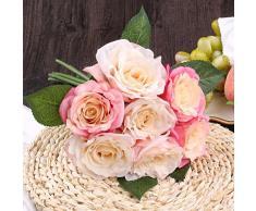 Soledi Rosas del Arte 10 Cabezas Ramo de Novia Decoración para Boda Adorno Hogar (rosado))