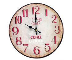 Better & Best 2671030 - Reloj de pared con diseño Coffee O'Clock con números rojos, color blanco