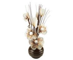 Diseño de flores artificiales en marrón jarrón, café crema /, 75 cm