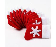 Topways® paquete 12 de Navidad decoración de la mesa calcetines de Navidad cubiertos bolsillos soporte (12 pcs Xmas Table Decoration Christmas Socks Pockets)