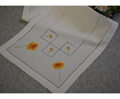 Camino de mesa de Gerbera vainica de mesa camino de mesa bordado de lino con aspecto de madera de 30 x 140 cm colour crudo/de flores de pascua - De colour naranja