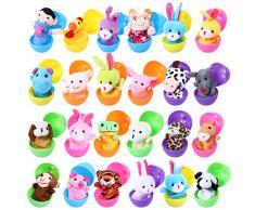 Twister.CK Marionetas de Dedo con Huevos de Pascua, 24 Piezas de Marionetas de Mano Set Marionetas de Animales Juguetes Muñecas Lindas para niños, espectáculos, Juegos, escuelas