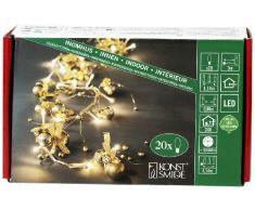 Konstsmide 3190-803 - Guirnalda led para árbol de Navidad (bolas doradas, 20 diodos de blanco cálido, transformador interior de 24 V, 1,1 W, cable transparente)