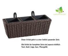 Jardinera para balcón de polyrattan incluye suspensión y 3 insertos plásticos, color mocca, 4 piezas, 47 x 17 x 15 cm