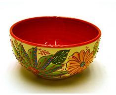 BOL Nº2 cuenco / plato hondo en ceramica hecho y pintado a mano con decoración flor. 19 cm x 19 cm x 10 cm (ROJO)