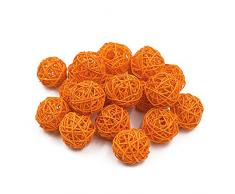 Jia Hu (ratán de 20pcs Wedding Party Colgante Wobble bola decorativa de Navidad 3 cm, Naranja