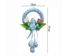 Liu Yu·espacio creativo, Arreglo De Decoraciones Corona Puerta Pendiente Props Pascua ( Color : Azul )