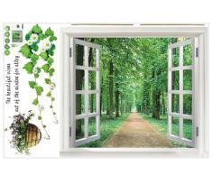 SODIAL(R) Pegatina de Pared Enorme Ventana 3D Vista Verde Flores Plantas Arte Mural