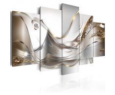 Cuadro en Lienzo 200x100 cm - 3 tres colores a elegir - 5 Partes - Formato Grande - Impresion en calidad fotografica - Cuadro en lienzo tejido-no tejido - abstraccion flores a-A-0004-b-o 200x100 cm B&D XXL