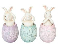 6pr1043 Clayre & Eef – decoración Pascua – Figura – Conejo de huevo – Juego de 3 aprox. 6 x 13 cm