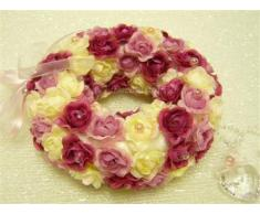 GT Decorations - Boda flores artificiales aumentaron pomander corona de flores colgando decoración (rosa) de
