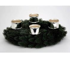 Soporte de vela para corona de Adviento – Bañado en plata y plateado