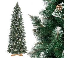 FairyTrees Árbol de Navidad Artificial Slim, Pino Natural Blanco nevado, Material PVC, Las verdaderas piñas, el Soporte en Metal, 180cm, FT09-180