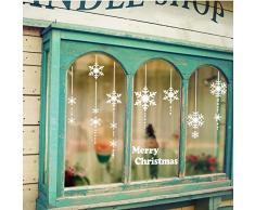 Pegatinas de Navidad decoracion fiesta extraíbles adorable Papá Noel nieve alce colores pegatina de pared etiqueta engomada de cristal (C)
