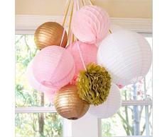 SUNBEAUTY Paquete de 11 piezas 8 '' (20 cm)Oro Rosa Blanco Bolas de nido de abeja & faroles de papel & Pom Pom flores de papel decoración para boda fiesta cumpleaños santa semana Navidad San Valentines