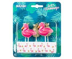 Boland 52564 – Velas Flamingo piña, 5 unidades, Velas de cumpleaños, minivelas, velas, enchufe, pincho, rosa, dorado, pasteles, cumpleaños, guarderías, decoración, regalo, fiesta en el jardín